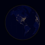 Earth sphere lights of cities North and South America. Vector Royalty Free Stock Photography
