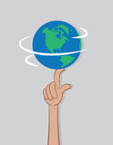 Earth Spin Finger Royalty Free Stock Photography