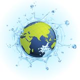 Earth in Splash of Water. Illustration of earth in splash of water on watery background vector illustration