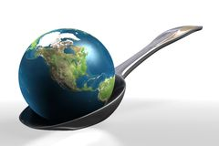 Earth in a spoon. Planet Earth ready for serving in a spoon stock illustration