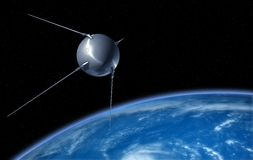 """Sputnik"" Satellite Orbiting the Earth. Sputnik satellite on Earth orbit. 3D illustration Stock Illustration"