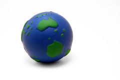 Earth squeeze ball (I). Earth shaped stress squeeze ball (Australia and Antarctica visible Stock Photography
