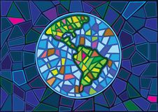 Earth Stained glass blur background vector illustration