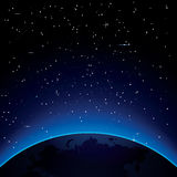 Earth with Stars and Copy Space. Space. Vector Illustration Royalty Free Stock Images