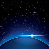 Earth with Stars. Space. Vector Illustration Stock Photography