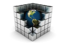 Earth in steel cube Stock Photography