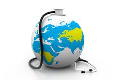 Earth and stethoscope Stock Photography