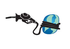 Earth strangled. Conceptual depiction of a gasoline hose strangling the earth showcasing the strain that the worlds addiction to oil brings to us all Stock Illustration