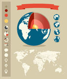 Earth structure. Infographic elements retro style  Stock Photography
