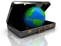 Earth in suitcase Royalty Free Stock Image