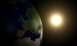 Earth and sun Stock Photography