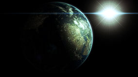 Earth with sun. Planet Earth with sun in universe Royalty Free Stock Image