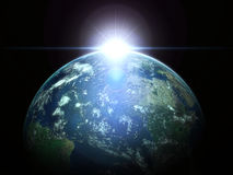 Earth and sun. Planet Earth with sun wallpaper Stock Photo