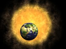 Earth and Sun. Global warming stock illustration