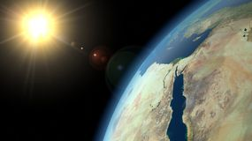 Earth and Sun. Picture shows the orbit of our planer Stock Image