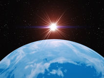 Earth and sun. The Earth in space. Rendering of a planet in the three-dimensional editor Royalty Free Stock Photos