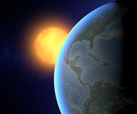 Earth and sun, America view from space Royalty Free Stock Photography