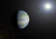 EARTH AND SUN. Earth with the sun at the bottom vector illustration