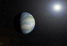 EARTH AND SUN. Earth with the sun at the bottom Stock Photos