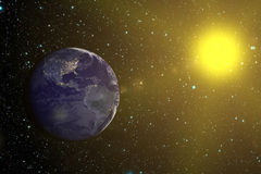 Earth and Sun (Elements of this image furnished by NASA) Stock Photography