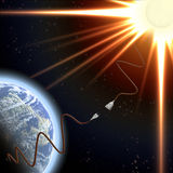 Earth and Sun and Energy. Promoting the use of solar energy Stock Photos