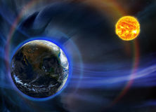 Earth and the Sun Royalty Free Stock Images