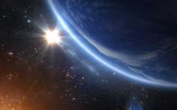 Planet Earth and Sun. stock illustration