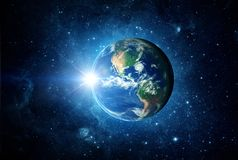 Earth, sun and galaxy. Elements of this image furnished by NASA. Earth, sun and galaxy. Space background. Elements of this image furnished by NASA Royalty Free Stock Image