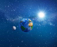 Earth, sun and moon in outer space. Planet Earth, the moon and the sun shining behind into deep space. Elements of this image furnished by NASA - 3D illustration vector illustration