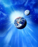 Earth Sun And Moon in Space. A space scene with the sun earth moon and stars Royalty Free Stock Image