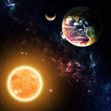 The Earth & Sun. Planet Earth & The Sun - Elements of this Image Furnished by NASA Stock Photography