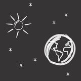 Earth, sun and stars Royalty Free Stock Photos