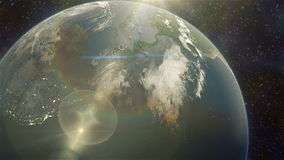 Earth sunrise. Cinematic and very realistic sunrise seen from space stock video footage