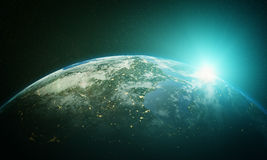 Earth sunrise. Cinematic and very realistic sunrise seen from space Royalty Free Stock Images
