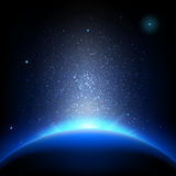 Earth - sunrise in deep blue space. EPS 10 Stock Photography