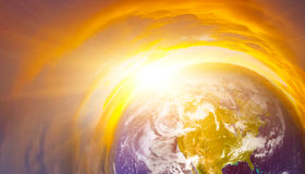 Earth. Sunrise Earth from outer space Royalty Free Stock Image