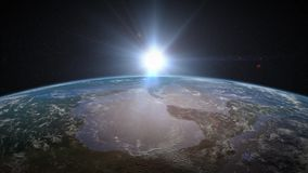 Earth Sunrise over North America. Sun rises over Earth to reveal North America. Rendered in 4K stock video