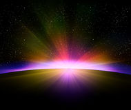 Earth sunrise with rays Royalty Free Stock Photography