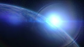 Earth sunrise. Sun rises behind the Earth, with big lens flare stock video
