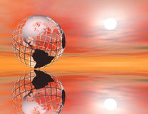 Earth at sunset. 3D rendered wireframe earth in a glowing sunset setting, with reflection Stock Image
