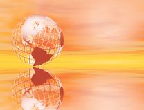 Earth at sunset. 3D rendered wireframe earth in a glowing sunset setting, with reflection Stock Images