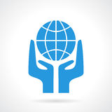 Earth supporting hands icon Stock Image