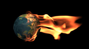 Earth surrounded by flames stock illustration