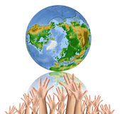 Earth surrounded by  hands. White background Stock Images