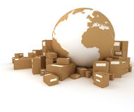 The Earth surrounded by packages Royalty Free Stock Images