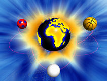 Earth surrounded by sport balls. With light rays on the background Stock Photos