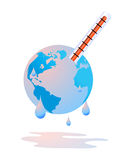 Earth is sweating by global warming. Vector illustration of the earth sweating cause of global warming and increasing of temperatures, social commercial to use Stock Photo
