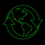Earth symbol. Neon green of earth and arrows Stock Photos