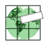 Earth with tablet. Green earth with tablet and lattice on white background Royalty Free Illustration