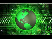 Earth tec. Illustrated green earth over a abstract electronic binary background Royalty Free Stock Photos